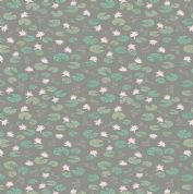 Lewis & Irene Down By The River - 5327 - Lilly Pads Floral on Dark Grey - A223.3 - Cotton Fabric